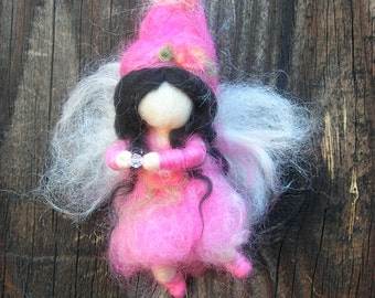 Ornament - Fuchsia Crystal Fairy- Waldorf Inspired Needle Felted  by Rebecca Varon