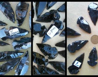 "OBSIDIAN ARROWHEADS ~ Obsidian Pendant ~ Choice Amounts ~ 2 Piece - 20 Bulk ~ 2""-1"" 4-8 gm ~ Pendant ~ Black Stone"