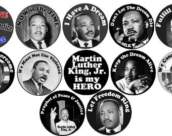 "Set 12 Martin Luther King Black History Month MLK 1.25"" 2.25"" Buttons Pins Magnets Keychains Bottle Openers 125"