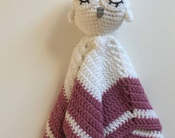 Ready to ship//Crochet sleeping owl comfort/security blanket