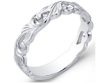 Eloquently Hand Engraved, Stackable,  14k White Gold,