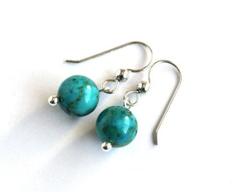 Genuine Turquoise Earrings Sterling Silver Argentium Earwire Kingman Turquoise Gemstone Simple Earrings Smooth Round Teal Blue Brown #18634