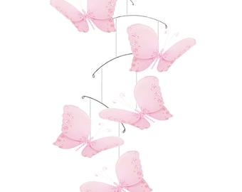 Pink Butterfly Mobile Baby Mobile Ceiling Mobile, Hanging Butterfly, Crib Mobile, Baby Room Decor, Nursery Decor, Nursery Decoration Twinkle