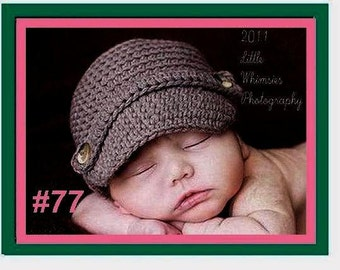 CROCHET PATTERN - HAT -  Newsboy hat- visor - cap - baby - women -  men -  boys - make it and sell it # 77