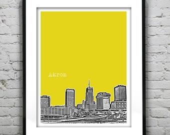 Akron Poster Print Art Ohio Skyline  OH