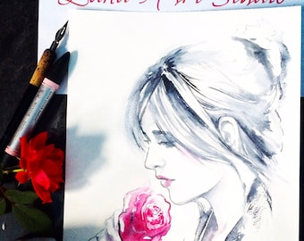 Art SALE Watercolor Painting - Fashion Illustration by Lana Moes - Fashion Illustration - Figurative Drawing - Pink Rose