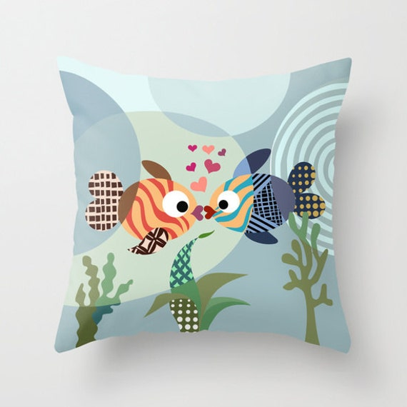 Fish Pillow, Love Pillow, Kissing Fish Pillow Case, Love Decor,  Valentine Gift, Cute Pillow, Ocean Blue, Turquoise, Teal