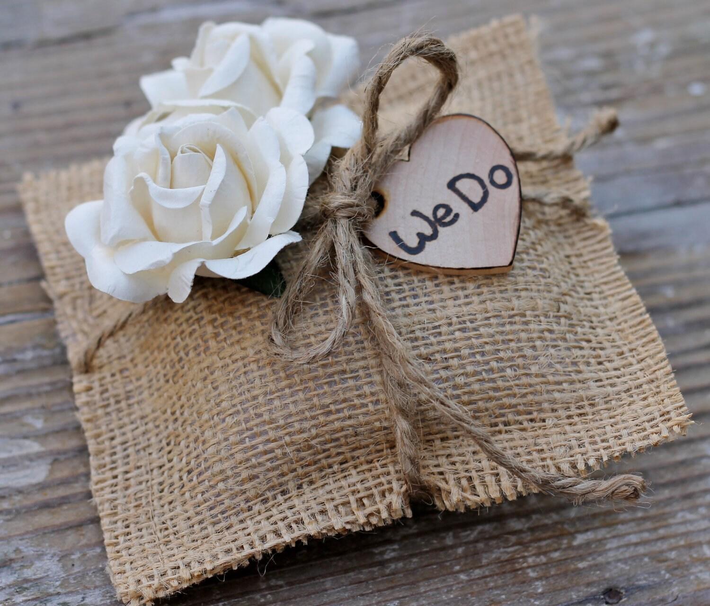 rustic media pillow lace ivory cushion ring bearer box wedding
