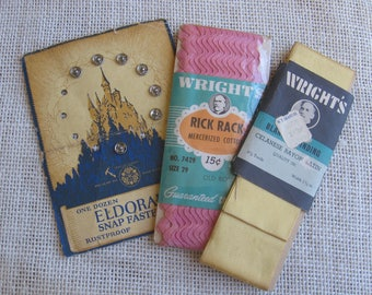 Vintage Sewing Notions Lot of 3 / Vintage Eldorado Snaps / Vintage Wrights Yellow Blanket Binding / Vintage Wrights Pink Rick Rack / Display