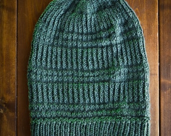 Green Knit Slouch Beanie