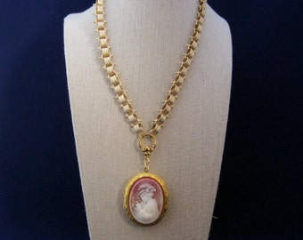 Bookchain Necklace Cameo Locket Gold Plated Chain Gold Tone Locket