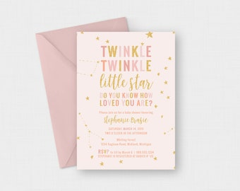 "Twinkle Twinkle Little Star, Do You Know How Loved You Are? Baby Shower 5"" x 7"" Invitation - Digital or Printed"