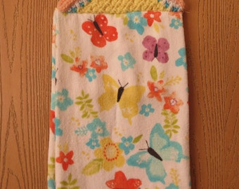 Spring Towel with Flowers and Butterflies