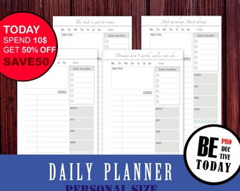 PERSONAL Size Inserts, Filofax Personal Planner, Daily Planner Bundle, Daily Organizer, Meal Planner, To Do, Filofax 2017 Personal Inserts