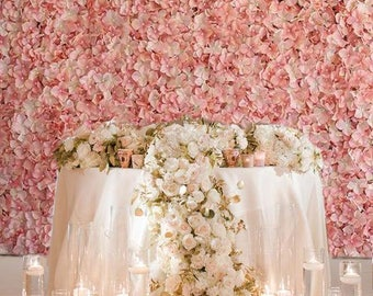 Blush hydrangea etsy 4 blush ivory flower wall pink panels hydrangeas artificial flower wedding decorations fake flower greenery flower junglespirit Image collections