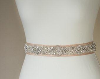 Bridal sash, champagne Bridal sash, Wedding sash belt, Crystal wedding, Pearl wedding, Beaded belt, Lace wedding