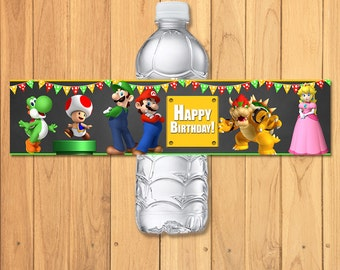 Super Mario Brothers Drink Label Chalkboard * Super Mario Brothers Birthday * Super Mario Water Bottle Label * Super Mario Party Favors