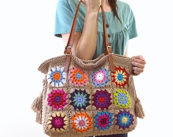 Crochet Granny Squares Tote Bag with Genuine Leather Handles, Crochet Summer Bag, Shopper Bag, Boho Style Bag