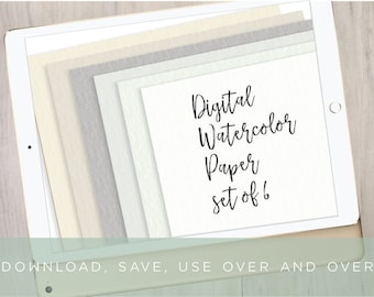 6 Digital Watercolor Paper Backgrounds | Digital Paper Set | iPad Pro Procreate Lettering | Brush Lettering Background by Kestrel Montes