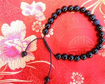 Black Onyx Wrist Mala/Bracelet for Meditation with Lapis Spacer
