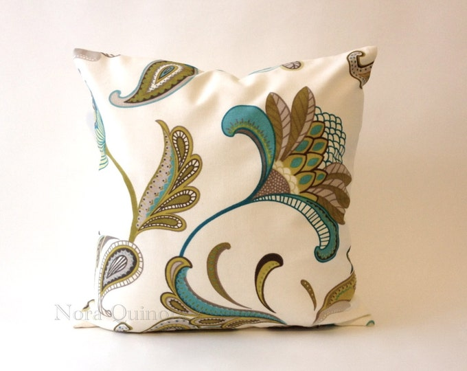 Floral Print Decorative Pillow Cover - Solid Canvas Backing -Medium Weight Cotton- Invisible Zipper Closure