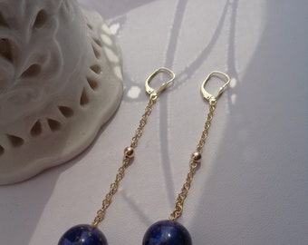 Long earrings with lapis lazuli in 585 Goldfilled