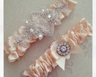 Peach Bridal garter set, Peach Wedding Garter set, Custom Color Wedding Garter, Rhinestone Garters, Personalized Wedding Garter