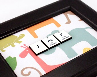 Science Personalized NameSign - Robots, Zoo Animals, Minimalism, Blocks, Polka Dots, Argyle - Kids