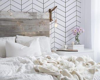 Simple Herringbone Wallpaper - Black and White Pattern - Modern Pattern - Removable Wallpaper - Wall Covering - Wall Decor - Mural - 58