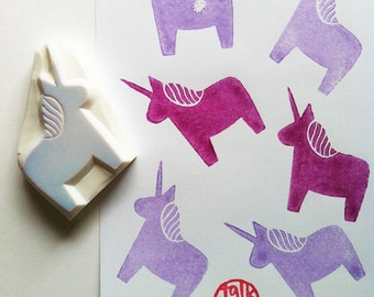 unicorn stamp | dala horse rubber stamp | diy fairytale birthday christmas card making | gift for girls | hand carved stamp by talktothesun