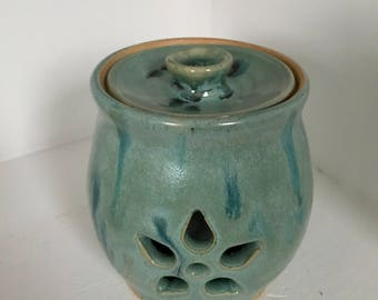 Garlic Keeper Wheel thrown Stoneware Pottery Jar Luminary tea light holder