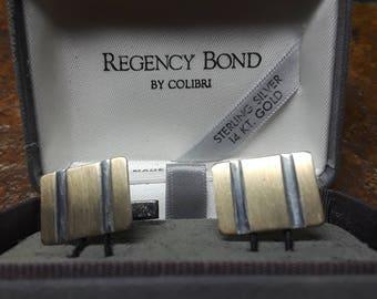 Sterling silver and 14 karat gold Colibri Regency Bond cufflinks