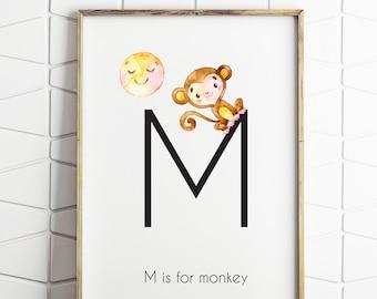 monkey prints, nursery decor, digital print, monkey nursery print, jungle nursery, happy little monkey, monkey printable art
