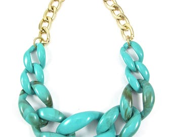 Turquoise | Gold Statement Necklace | Gold Chunky Necklace | Large Link Necklace | Resin Link Necklace | Acrylic Link Necklace | Aqua