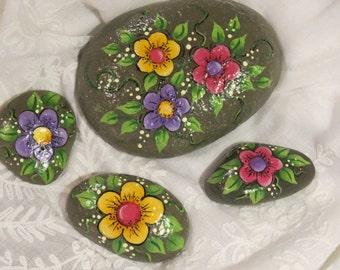 Painted flower garden rocks, set of 4 floral stones, plant decoration