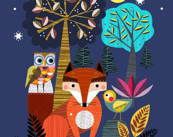 Night time in the forest, Ellen Giggenbach print