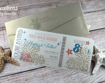 Boarding Pass Invitation, Bridal Shower Invitation, Wedding Invitation