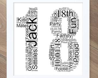 18th Birthday gift! Personalised word art / word cloud print!