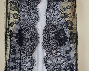 3 m * 23cm Black Lace chantilly lace fringe Ref. 2213