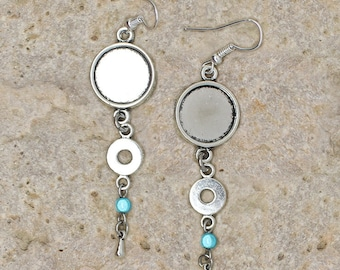 Pearl Earrings silver medium round cabochon 14 mm circle, and drop