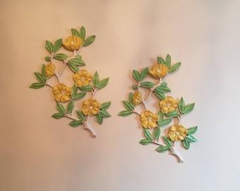 Dart Industries Magnolia Wall Plaques // Magnolia Blossoms // Magnolia Branches // Retro Decor // Outdoor Decor