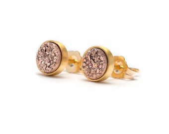 Rose Gold in Yellow Gold Stud Earrings - Druzy / Drusy Quartz Studs - 24k Gold Vermeil Stud Earrings - Round 6mm - Bezel Set Stud Earrings