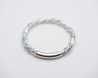 Twist Rope Ring. Sterling Silver with a Solid Gold or Silver Accent, Twist Ring, Rope Ring. Custom Size, Handmade to Order!