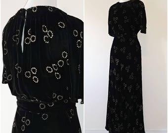 Vintage 1930's Black Silk Velvet and Gold Paint Gown   Vintage 1930's Velvet Gown   Vintage 1930's Dress  