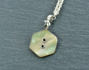 Mother of Pearl Necklace, Sterling Silver Pendant, Free Shipping