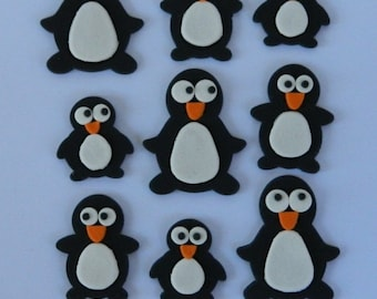 12 edible PENGUINS WINTER PINGU inspired iceberg cake decoration topper gumpaste sugarcraft birthday wedding anniversary engagement happy
