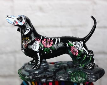 dia de los muertos dog / day of the dead  dachshund / dog figuering / pet lover / pet gift
