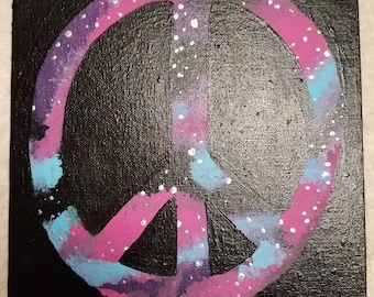Universal Peace, pink and blue galaxy peace sign, cosmic peace, blackout painting