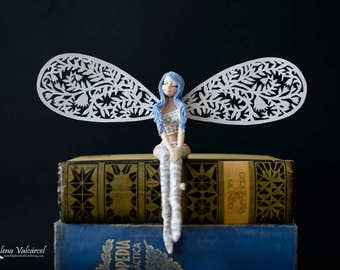 Miniature Fairy - Art Fairy with Paper Wings - Fairy - Paper Art
