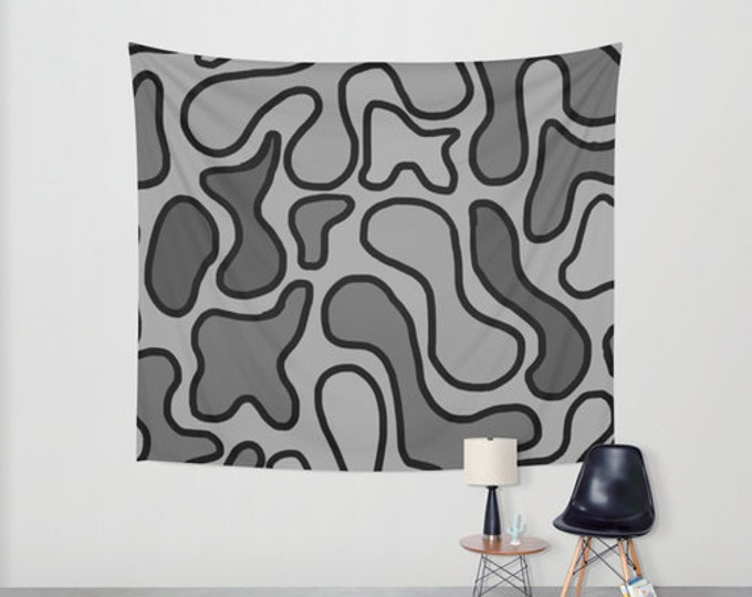Abstract Art Hanging Tapestry - Wall Tapestry - Black and Gray Squiggle Art - Large Wall Hanging - Home Decor - Made to Order